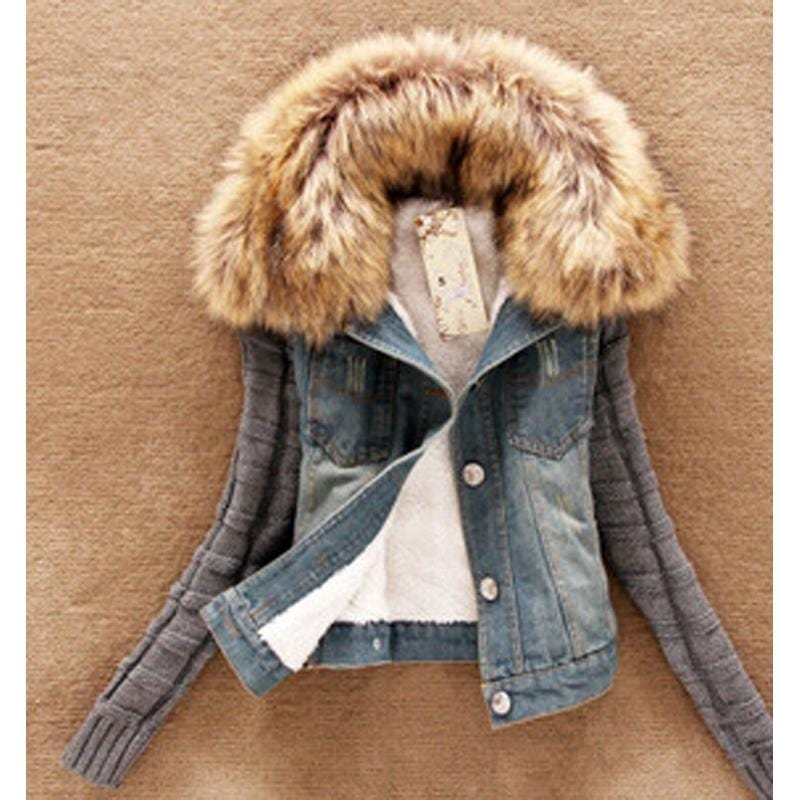wholesale Autumn Winter Women's Denim Female Jacket for women Holes Slim with fur outerwear Coat short Jeans jacket DL1410