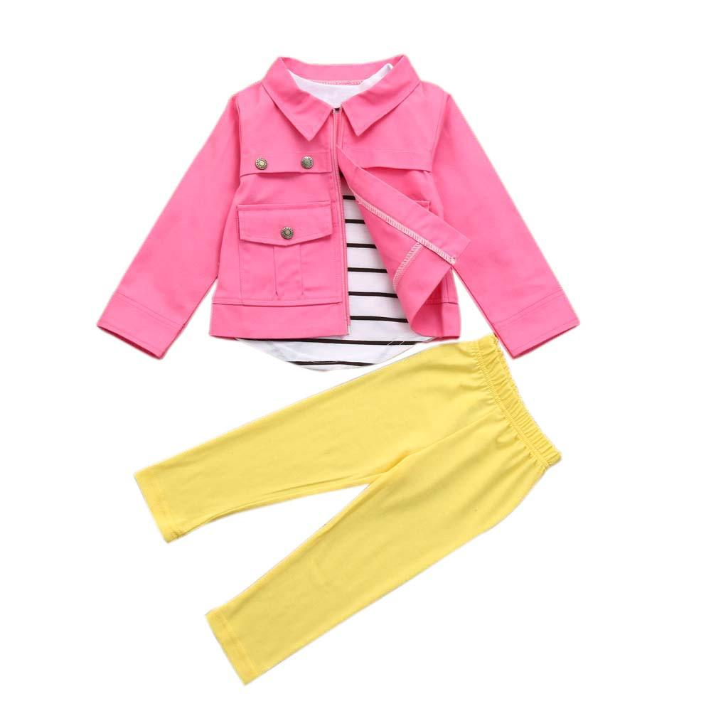1Set Kids Toddler Girls Warm Long Sleeve T-Shirt Tops+Coat+Pants Clothes Outfits - EM