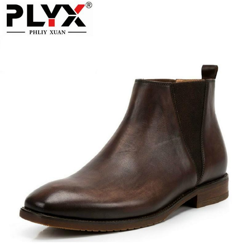 PHLIY XUAN British New 2018 Style Retro Genuine Leather Men Ankle Boots 100% Handmade Bota Stitching Snow Tactical Boots