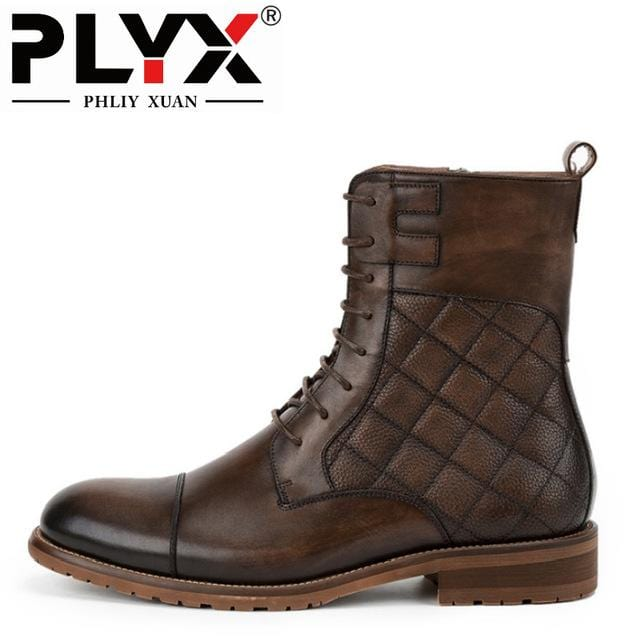 PHLIY XUAN New 2018 Fashion Retro Men Boots 100% Handmade Italy Genuine Leather Boots Lace-Up Vintage England High Winter Boot