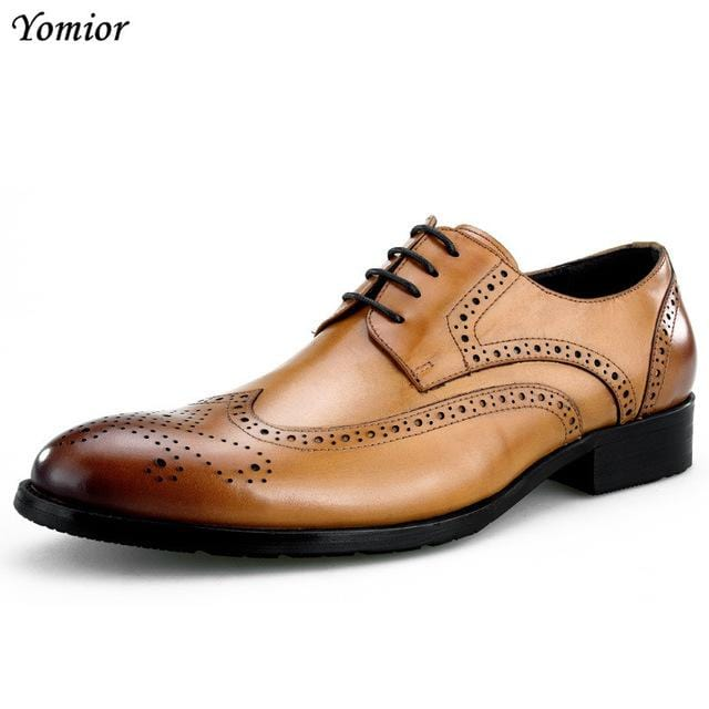 Men Business Formal Dress Shoes Oxfords Men Leather Shoes Lace-Up British Style Genuine Leather Brogue Shoes Classic Fashion