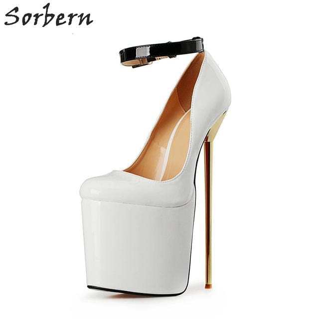 Sorbern Big Size EU40-50 Ankle Strap Pumps Thick Platform 22cm Metal Ultra High Heels Stilettos Pointed Toe Shoes Women Unisex