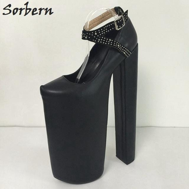 "Sorbern Flag Ankle Boots Women Shoes 2017 New 14"" Ultra High Heels 10"" Thick Platform Pump Women High Heel Ankle Shoes Size 4-15"