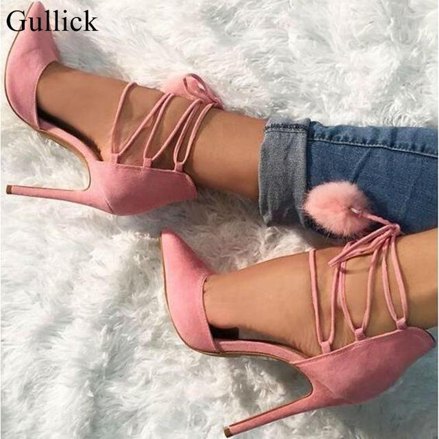Gullick Pom Pom Decor High Heel Pumps Pink Pointed toe Ankle Lace-up Strappy Sandals For Women 2018 Spring Wedding Dress Shoes