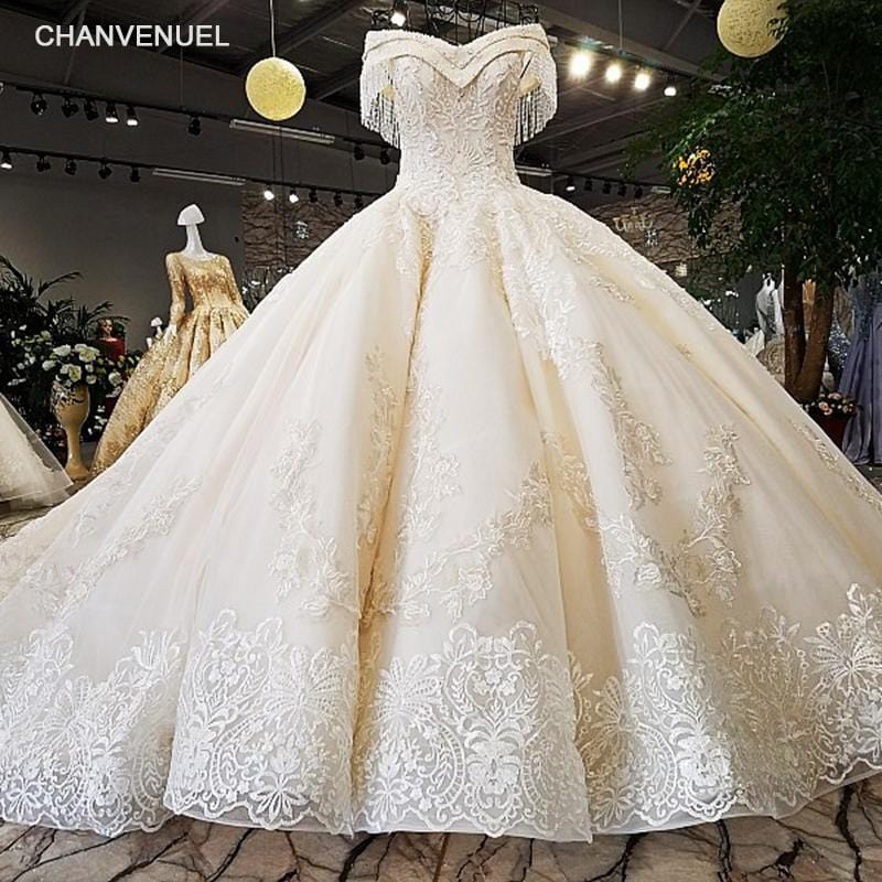 LS54110 2018 Luxury wedding dress sweetheart  ball gown lace up  ivory and champagne bridal wedding gowns long train as photos