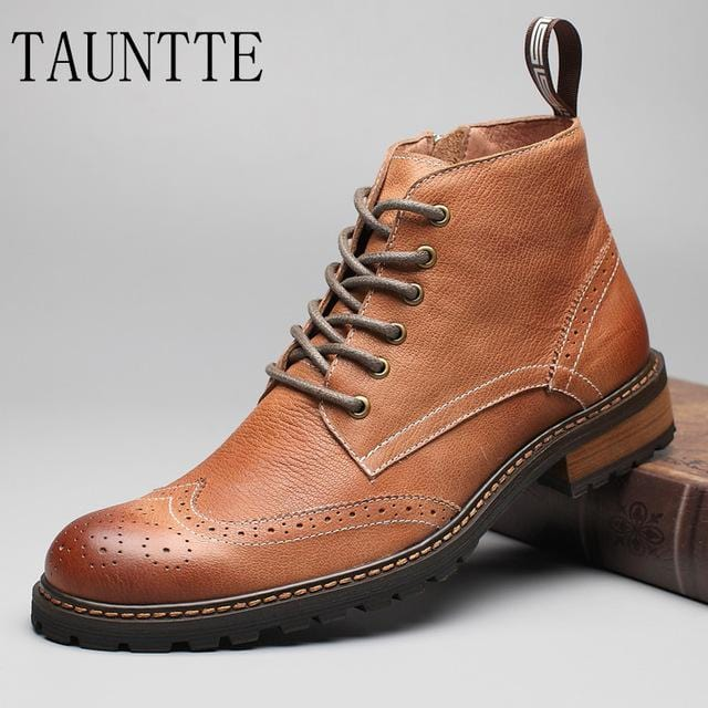 Tauntte Winter Full Grain Leather Ankle Boots Men Retro Brogues Carving Flower Martin Boots Classic Chukkas