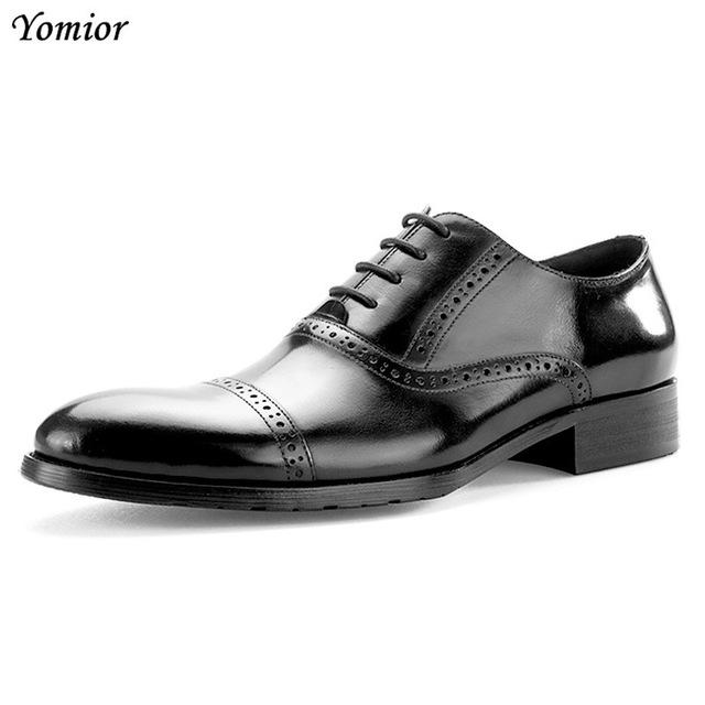79cf78f668b ... Fashion Men Shoes Genuine Leather Brogue Dress Shoes Brand Luxury Men s  Business Casual Classic Gentleman Office ...