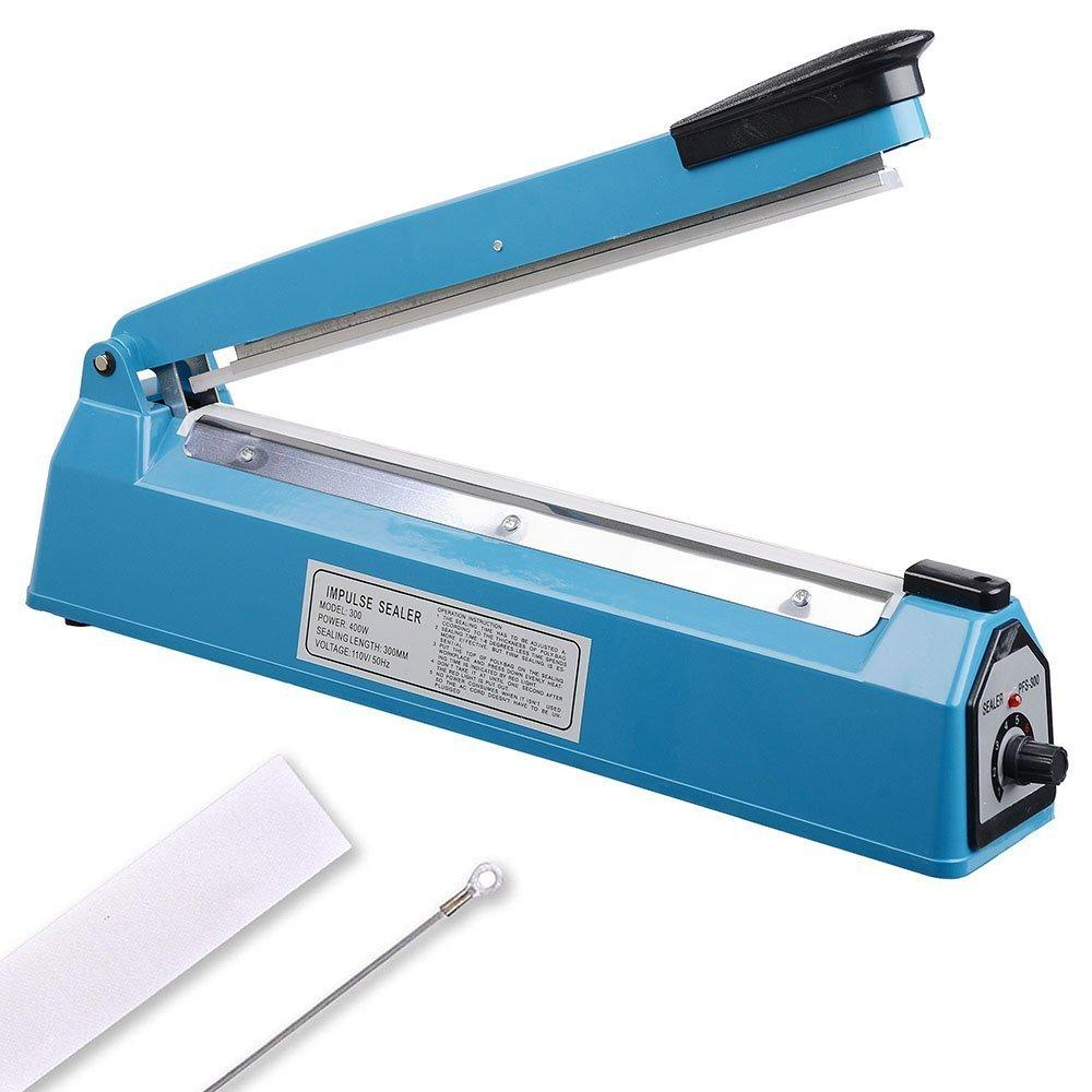 "12"" 300mm Impulse Manual Hand Sealer Heat Sealing Machine Poly Tubing Plastic Bag w/ Spare Teflon & Sealing Elements"