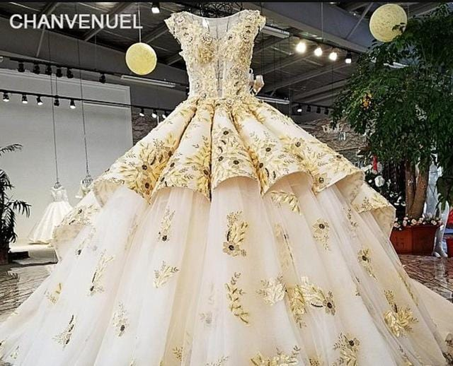 LS92110 boat neck see through deep front golden and white color middle east style puffy design 2018 new arrival wedding dress