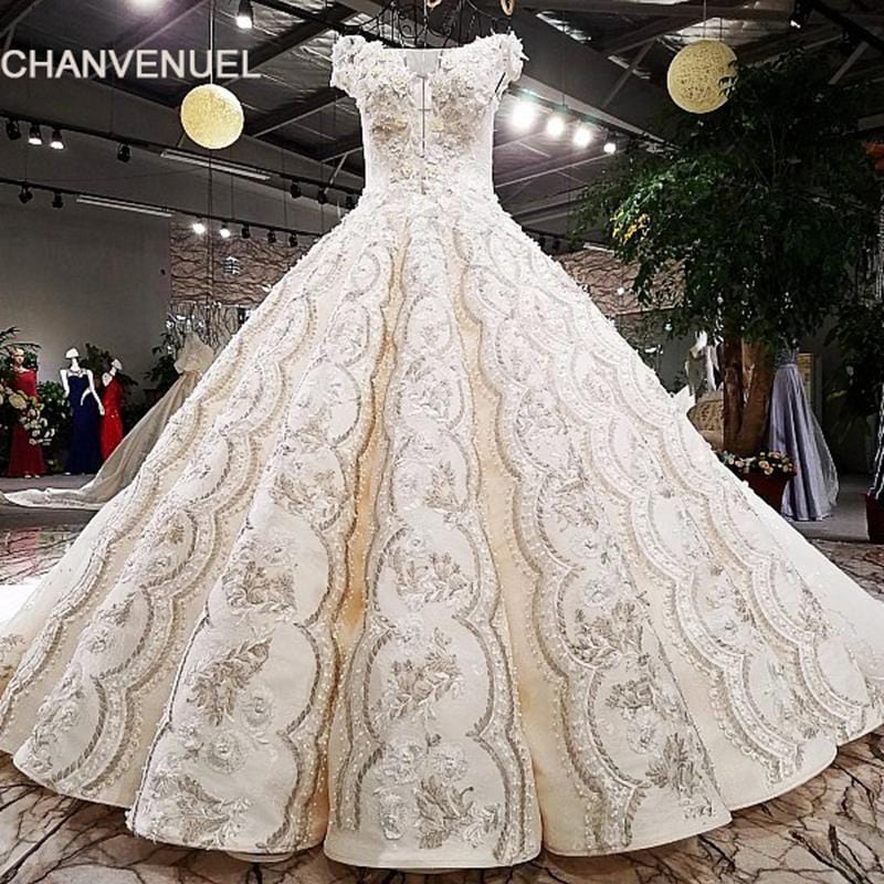 LS84162 2018 Luxury wedding dress off shoulder ball gown lace up champagne lace bridal wedding gowns with long train real photos