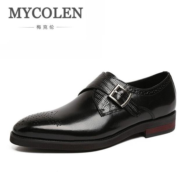 MYCOLEN Leather Men Shoes Casual Top Formal Business Male Wedding Dress Flats Top Quality British Fashion Mens Formal Shoes