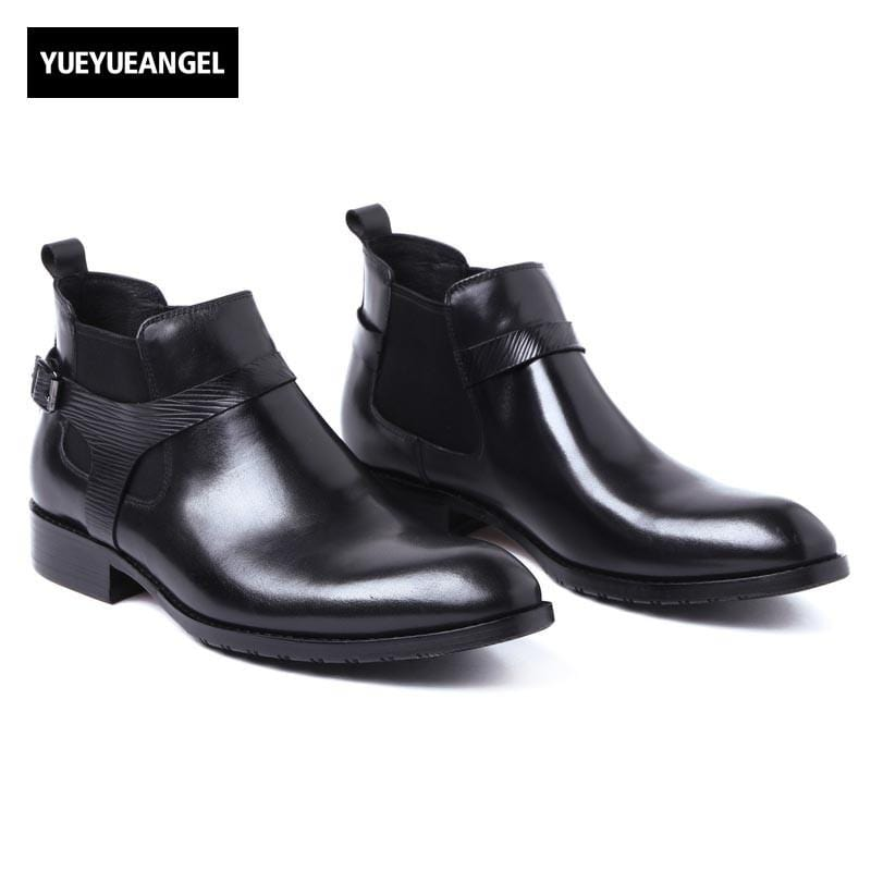 Men Chelsea Boots Genuine Leather Black Pointed Toe Luxury Fashion Buckle Business Office Formal Ankle Boots Motor Biker Shoes