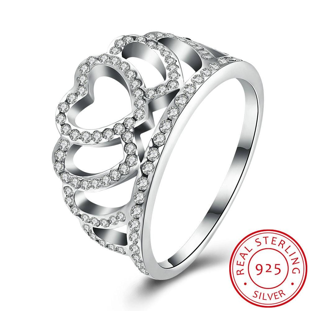925 Sterling Silver Ring Women' s Heart - shaped crown diamond ring - EM
