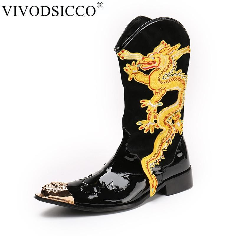 VIVODSICCO New Genuine Patent Leather Men Mid-Calf Boot Punk Military Combat Men's Leather Desert Biker Motorcycle Rock Boots