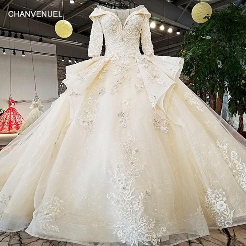 LS37810 2018 new bridal gownhalf sleeve lace up plus size formal rhinestone bodice applique latest design peplum wedding dress