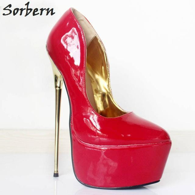 Sorbern Fashion Bdsm Pole Dance Pumps Party Shoe 6Cm Platform Shoes Metal Gold Heels Women Pumps Slip On 22Cm Extreme High Heels