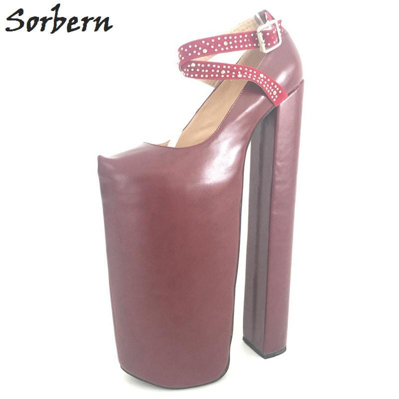 Sorbern 35cm Ultra High Heel Thick Platforms Shoes Women Chunky Heeled Sexy Fetish Shoes Show Runway Pumps Plus Size EU34-46