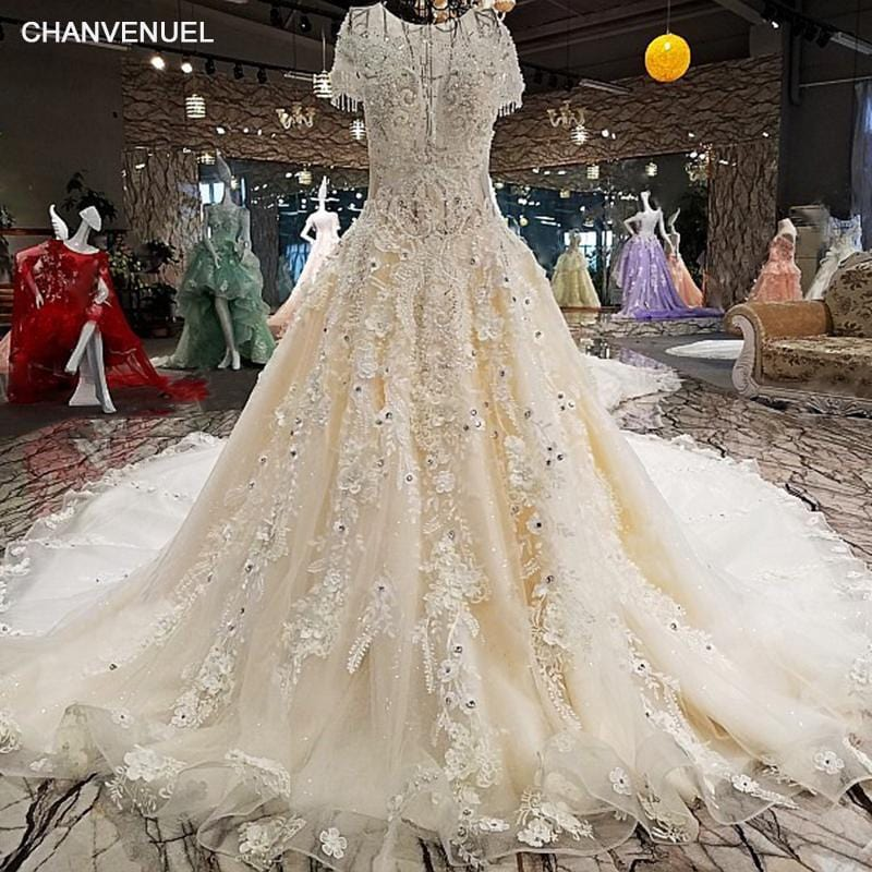 LS00214 vestido de noiva 2018 luxury lace  beading flowers short sleeves Illusion shop online china gelinlik wedding gowns