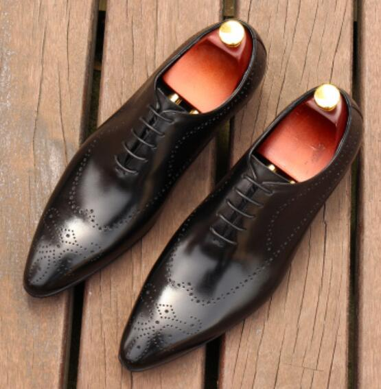 CH.KWOK British Mens Dress Oxfords Shoes Wedding Suits Leather Formal Shoes Men's Breathable Brogue Footwear Size 38-44