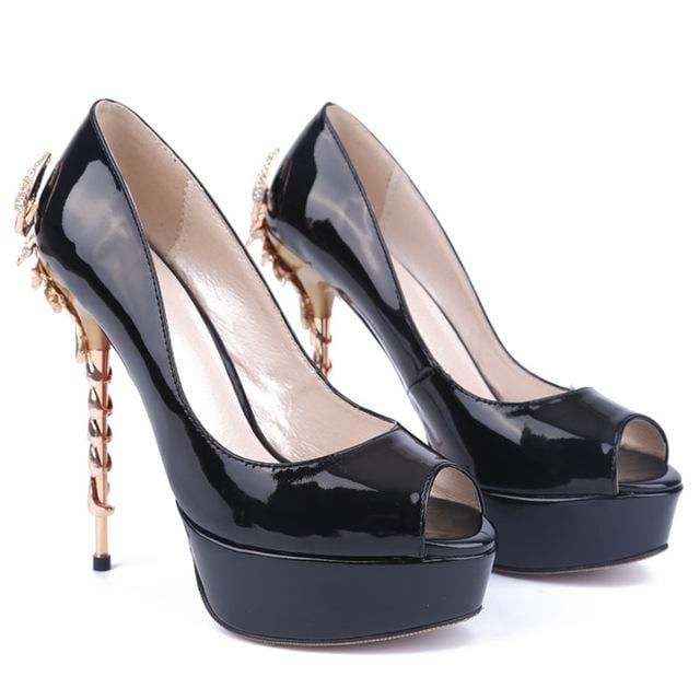Black Patent Leather Shoes Woman 2018 New Scorpion Design Super High Thin Heels Sexy Female Shoes Peep Toe Thick Platform Pumps