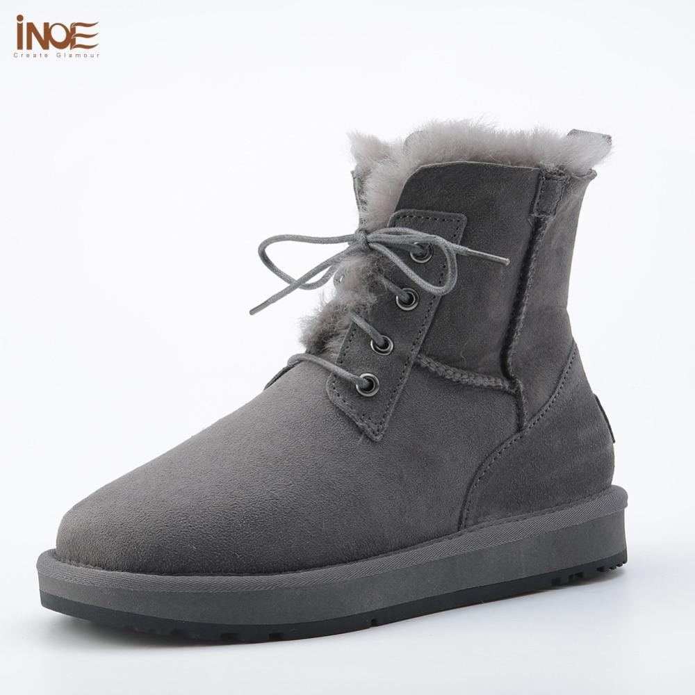 new style fashion genuine sheepskin leather fur lined men ankle winter snow boots for man lace up casual winter shoes Black