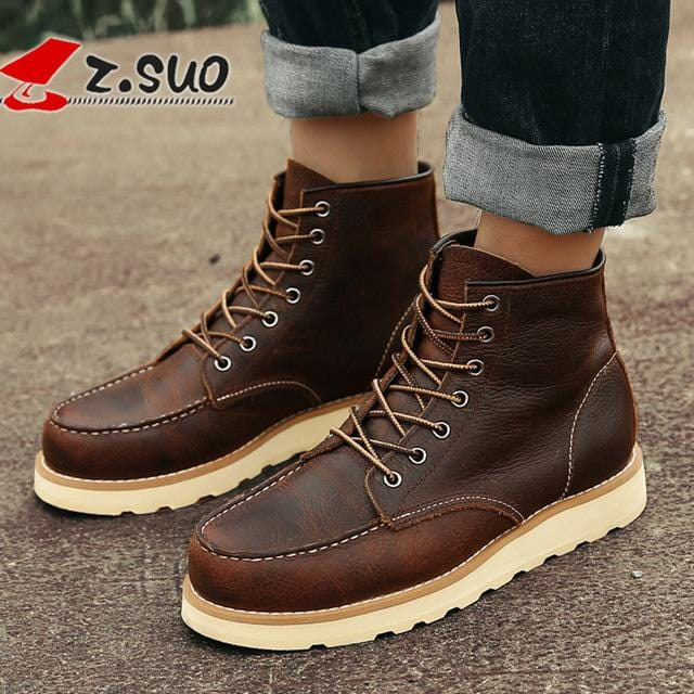 Z.Suo Winter Men Boots Cow Leather Brown Handmade Vintage Luxury Genuine Leather Suede Boots Fashion Casual Mens Ankle Boots 118