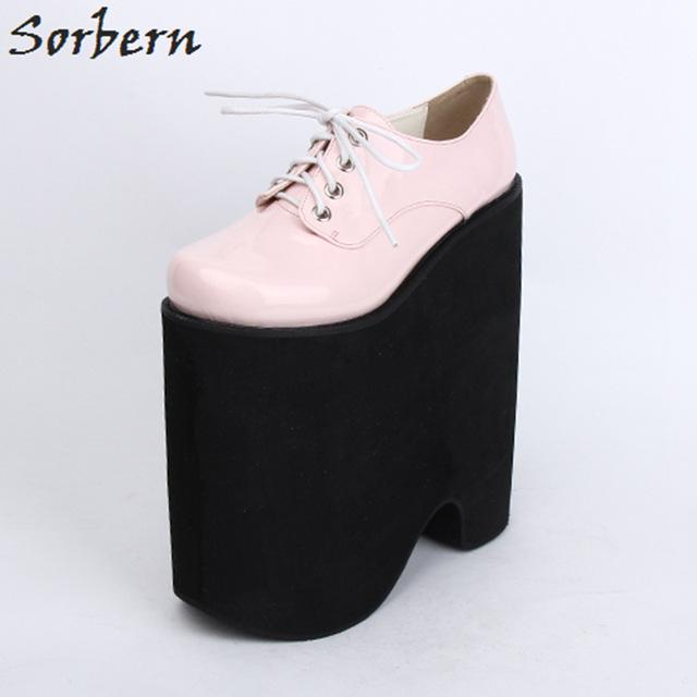 Sorber LOLITA Cosplay Shoes Round Toe PUNK Shoes Ladies 22cm Extrem High Heels Platform Pump Shoes For Women Lace-up COS Shoe