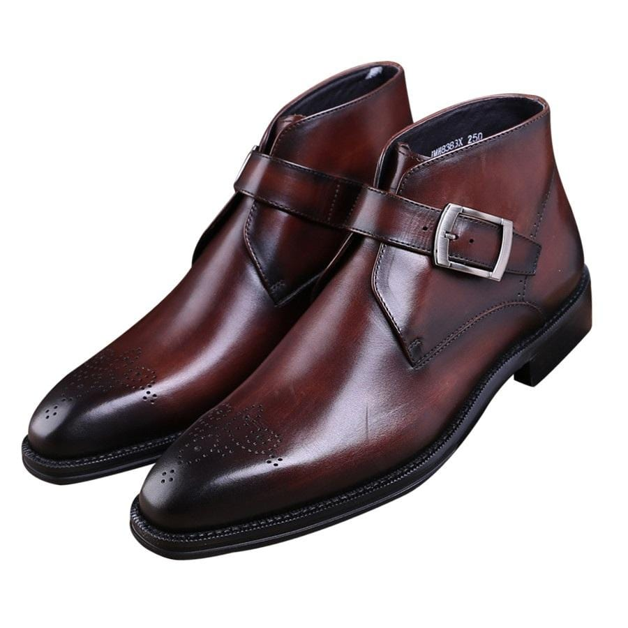 a2f2060a7e1 Fashion Goodyear Welt shoes Brown tan / black mens ankle boots genuine  leather dress boots mens dress shoes with buckle