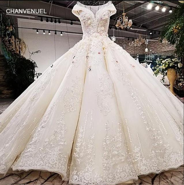 LS42101 real picture white satin and pink flowers heavy design hand working beadings long train wedding dress 2018 new arrival