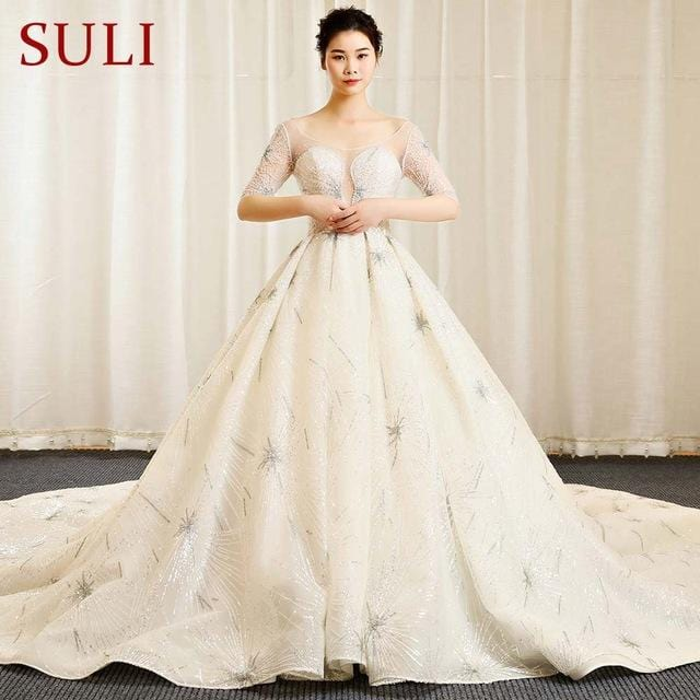 SL-154 Newest Bohemian Vintage Crystal Wedding Dresses Luxury Lace Sexy Long Sleeve Wedding Dress 2018 Cathedral Royal Train