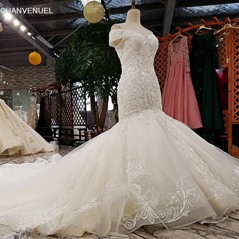 LS02874 2018 mermaid ivory wedding dresses off shoulder sweetheart  lace up wedding dress with long train from china real photos