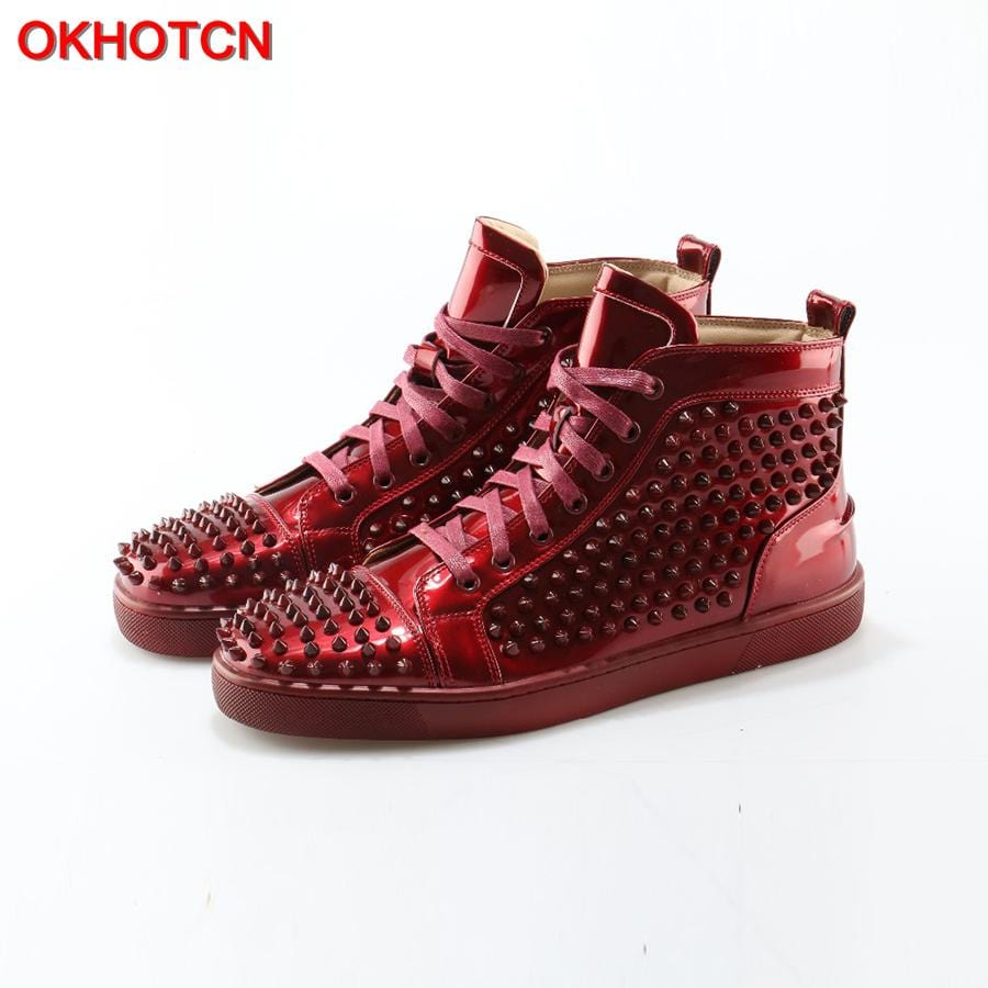 OKHOTCN 2018 New Men Casual Shoes Red Patent Leather Spikes Studded Shoes High-end Stars Rivet Loafers Lace Up Zapatos Hombre