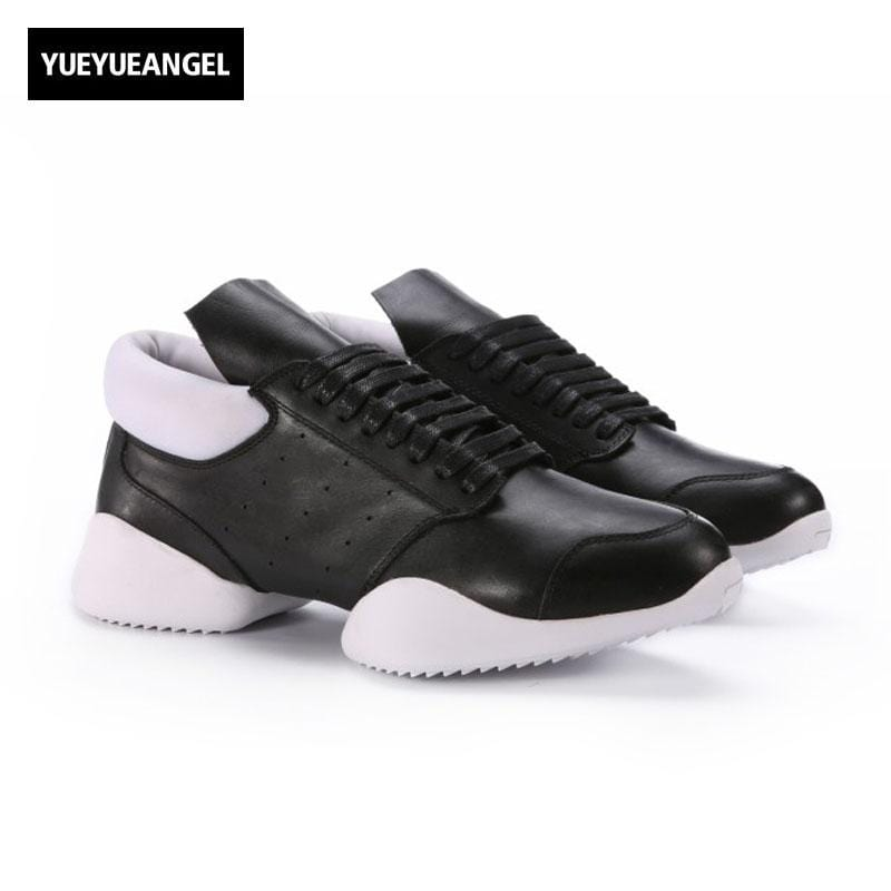 Men Horseshoe Shoes 2018 New Lace Up Ankle Luxury Trainers Genuine Leather Shoes Casual Brand Flat Black White Big Size Sneaker
