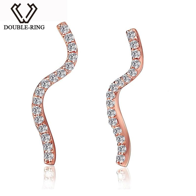 DOUBLE-RING 0.11ct Genuine Diamond Real Pure 18k Solid Rose Gold Earrings Diamond 18k Gold Earrings For Girls - EM
