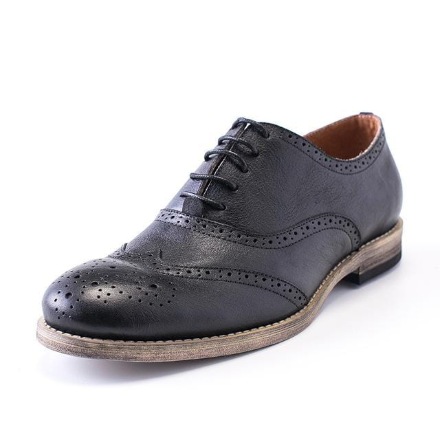 Brand Retro Men Genuine Leather Cow Autumn Oxfords Lace Up Casual Shoes Brogue Shoes Wing Tip Male Multi Color Black Business