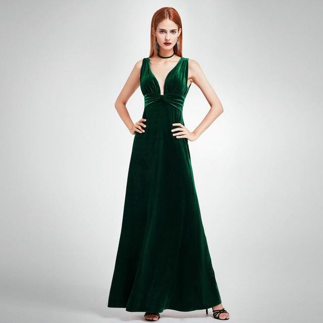 Sexy Velour High Split Evening Dresses Ever Pretty EP07181 Deep V Neck Design Elegant Velvet Evening Gowns 2017 New Arrival