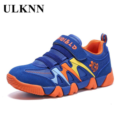 ULKNN Genuine Leather Kids Sport Shoes Children Sneakers For Boys Shoes Girls Spring Autumn Breathable Mesh Striped chaussure - EM
