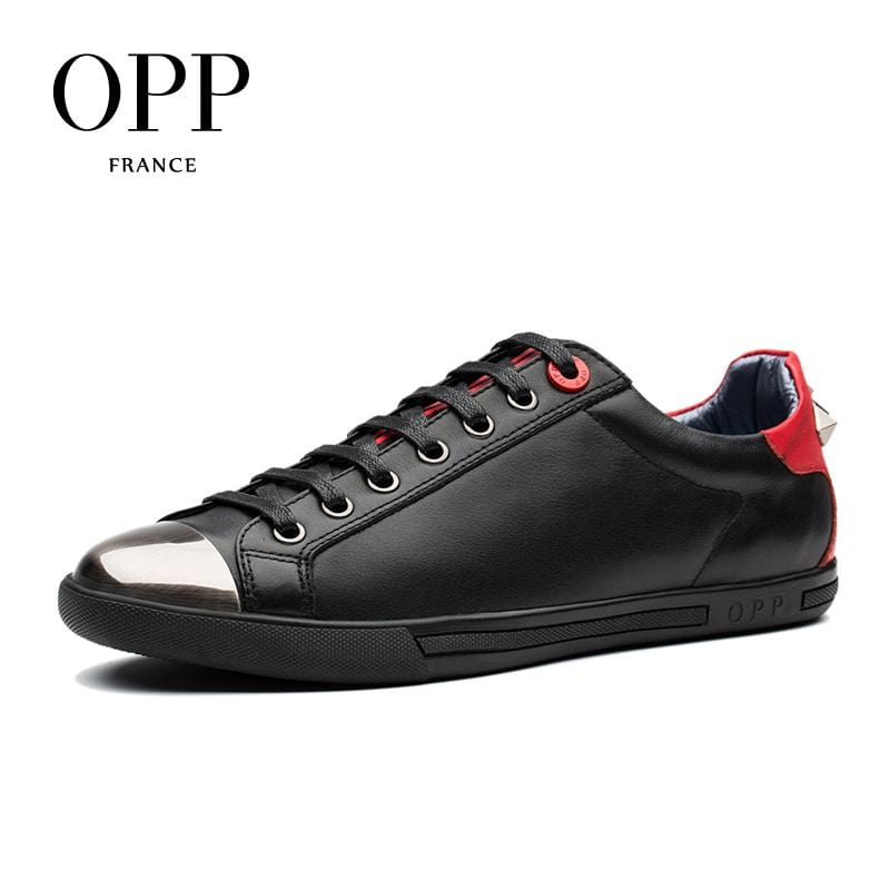 OPP 2018 Mens Shoes Loafers For Men Cow Leather Flats Shoes Casual 4 Seasons Shoes Leather Loafers New footwear Metal Style