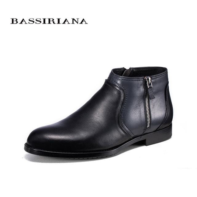 BASSIRIANA brand Quality Genuine leather winter boots men Warm shoes men casual handmade round toe zip Russian size 39-45