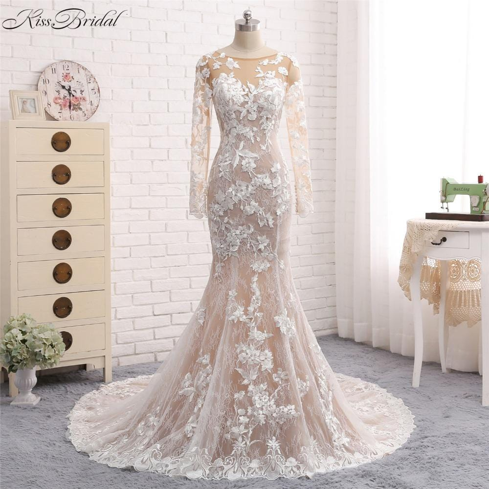 Sexy Long Wedding Dress 2018 O-Neck Long Sleeves Court Train Mermaid Appliques Tulle Wedding Gowns Vestido de noiva sereia