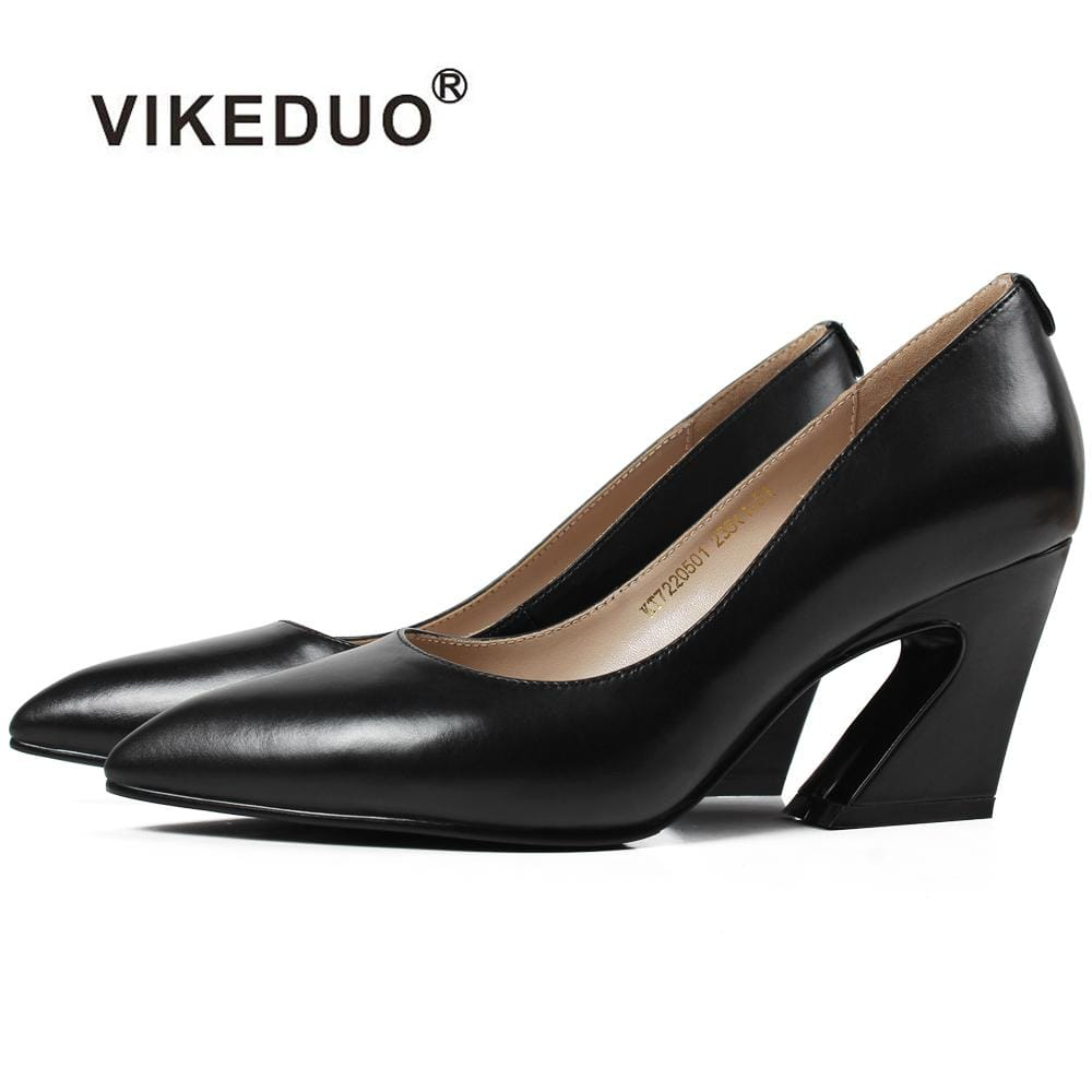Vikeduo Hot Handmade Pointed Toe Black Luxury Fashion Party Wedding Dress Shoes Original Genuine Leather Women High Heel Shoes