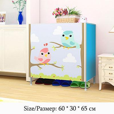 Actionclub Multifunction Storage Shoe Rack 3D Cartoon Pattern Shoe Cabinet Simple Non-woven DIY Shoe Organizer Shelf Furniture