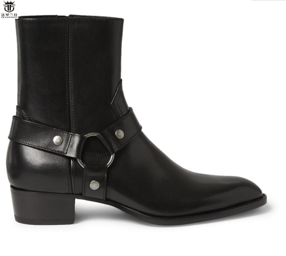 FR.LANCELOT 2018 Chelsea boots men black leather boots metal  real Leather ankle booties high top zip up men boots