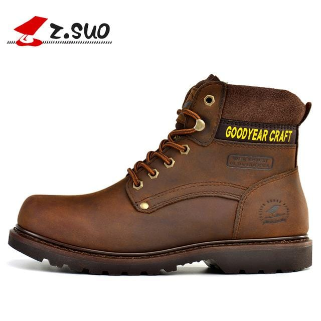 Z.SUO Brand High Quility Cow Leather Outdoor Men Boots Autumn Winter Keep warm Tooling Boots Man botas hombre Outdoor Boots