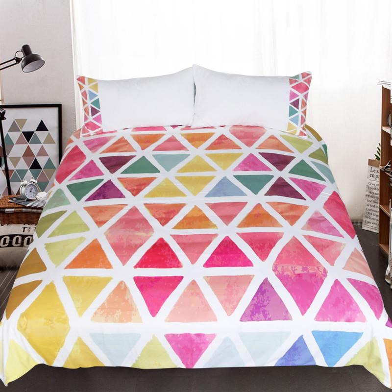 BeddingOutlet  Bedding Set Bedclothes Creative Custom Made Colorful Geometric 3pcs Duvet Cover Set Twin Full Queen King - EM