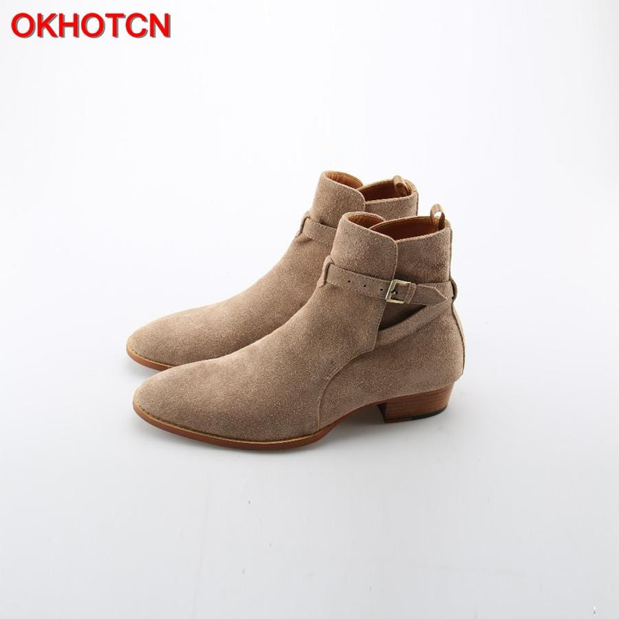 OKHOTCN Handmade Vintage Luxury Men Genuine Leather Suede Boots Wyatt Classic Harness Ankle Buckle Strap Chelsea Men Boots