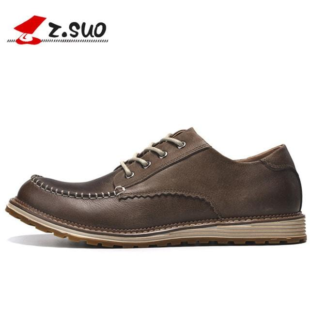 ZSUO Brand Men Leather Casual Shoes Retro Flat Oxfords Shoes 2018 Spring Luxury Fashion Italian Handmad Shoes Men Leather