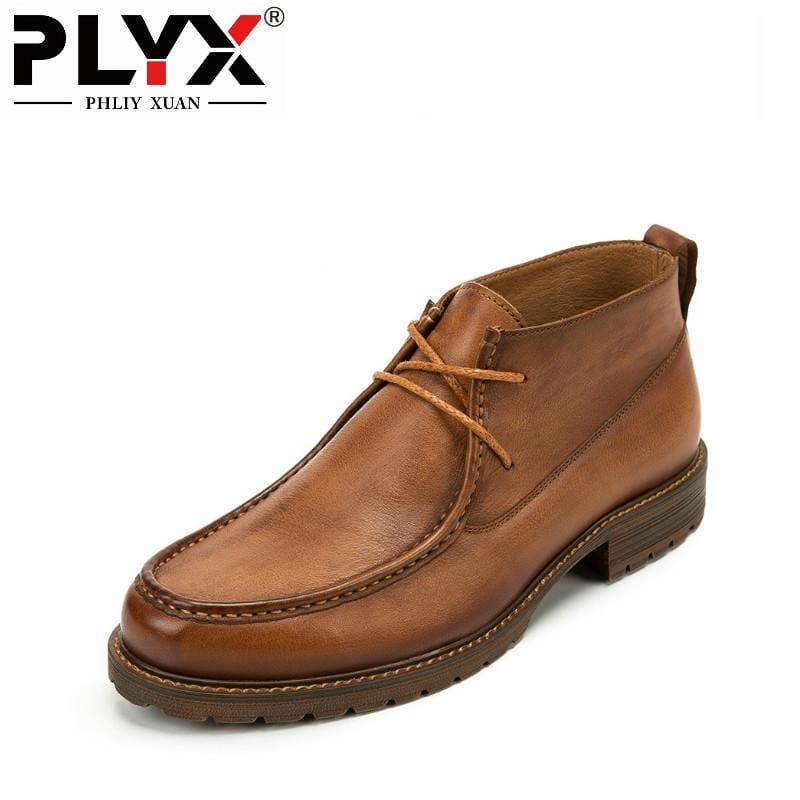 PHLIY XUAN British New 2018 Style Retro Genuine Leather Men Ankle Boots Italy100% Handmade Bota Stitching Winter Tactical Boots