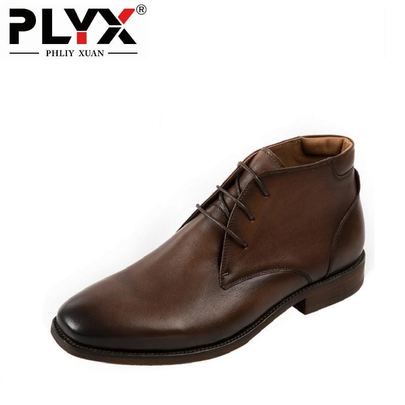 PHLIY XUAN British New 2018 Style Retro Genuine Leather Men Ankle Boots Italy 100% Handmade Bota Snow Tactical Boots