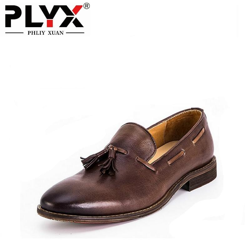 PHLIY XUAN Luxury Italian Retro New 2018 Mens Dress Shoes Genuine Leather 100% Handmade Men Oxfords Chaussure Homme De Marque